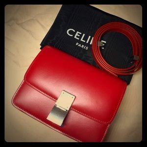 Celine Box mini classic RED silver